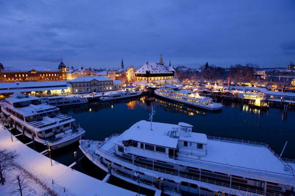 Hafen von Konstanz im Winter